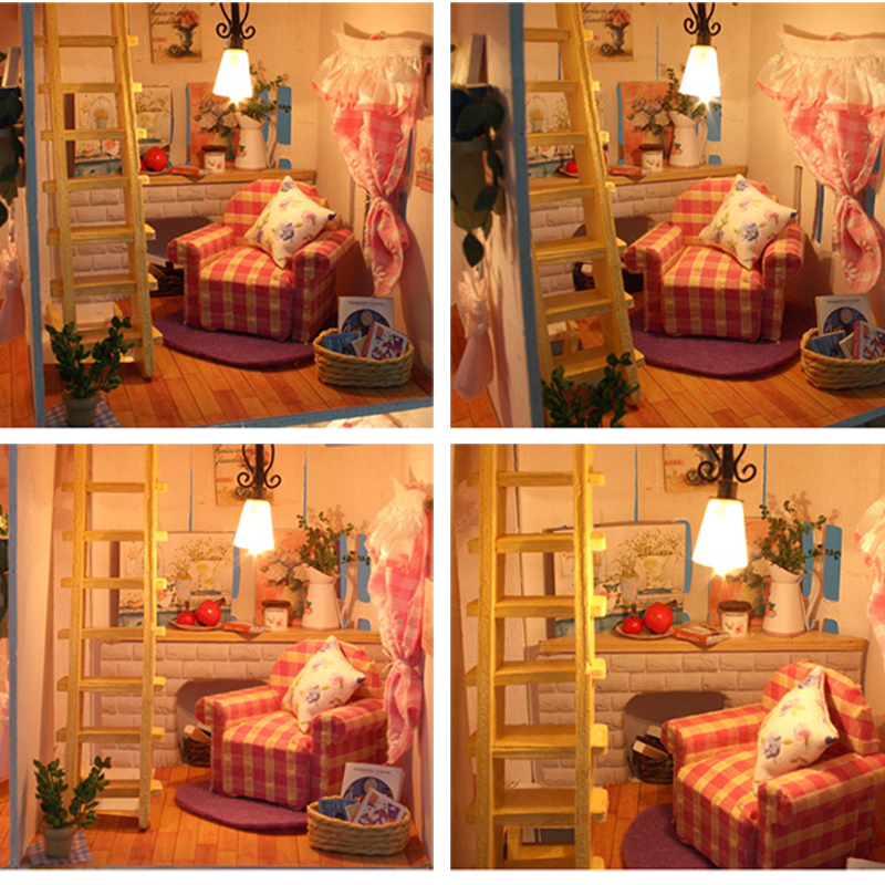 Perabot DIY Doll House Wodden Miniatura Doll Houses Furniture Kit - Anak patung dan aksesori - Foto 5