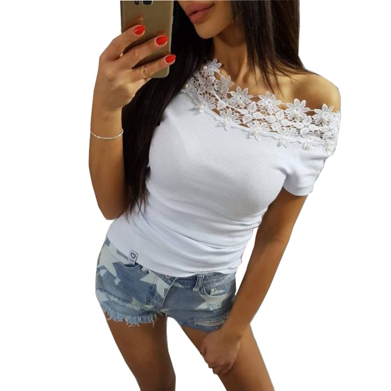 Sexy Off Shoulder Lace Patchwork   Blouses     Shirts   Women 2018 Short Sleeve Female Pearls Beading Bluas Tops WS8140T