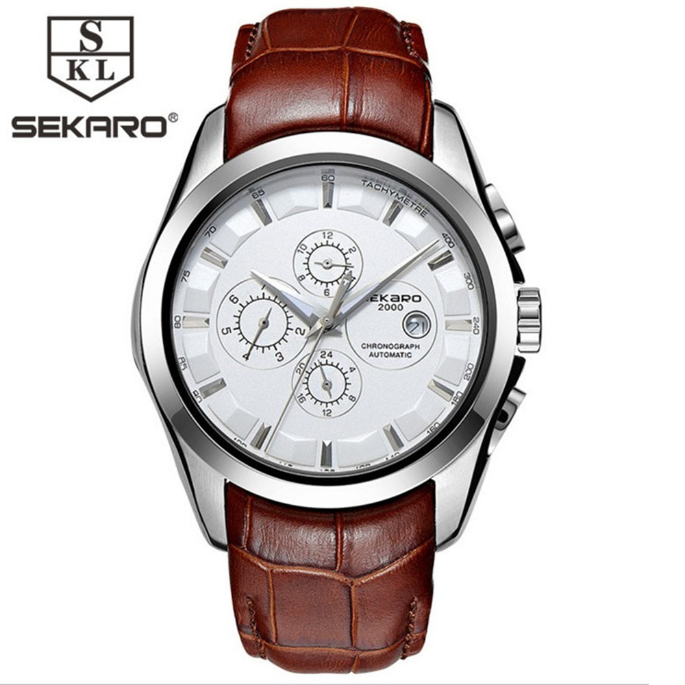 SEKARO Sapphire Automatic Mechanical Watch Men Stainless steel waterproof brown leather Watch relogio masculine 2017 2018 ailang sapphire automatic mechanical watch mens top brand luxury waterproof brown genuine leather watch relogio masculine