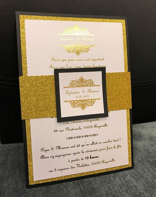 CA0674 Foil Print Wedding Invitations with Glittering Belly Bandin