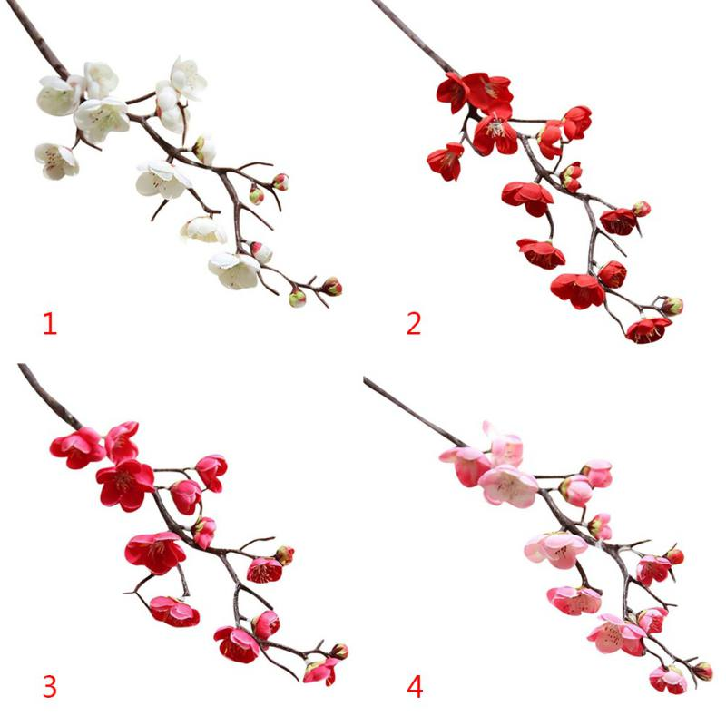 Small Plum Fake Flowers Silk Plum Flower Fake Plants Tree Branch Silk Flowers for Wedding Home Party Decoration