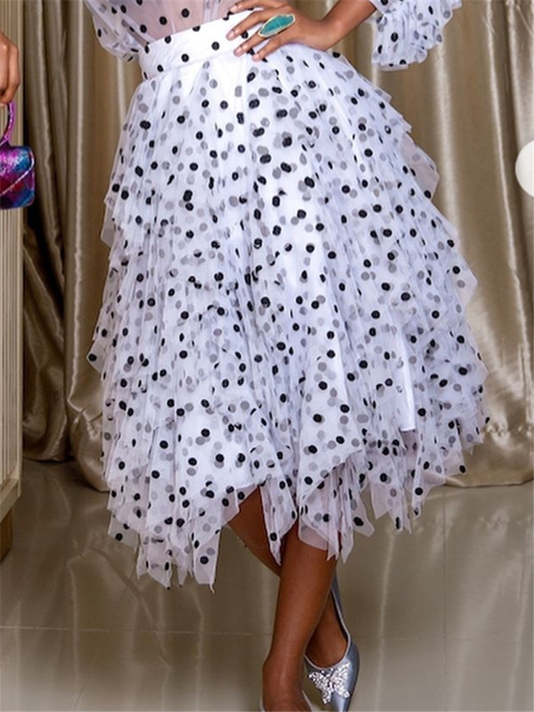 Women Skirts Polka Dot Elastic Waist Thin Tulle With Lining Elegant Tutu Jupes Fashion Summer Spring Lolita Female Falda Saias