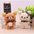 1 par 11 cm Kawaii amante del oso de Rilakkuma juguete relleno felpa, figura suave muñeca, llavero de diseño , relajarse oso bolsa Charm colgante juguete