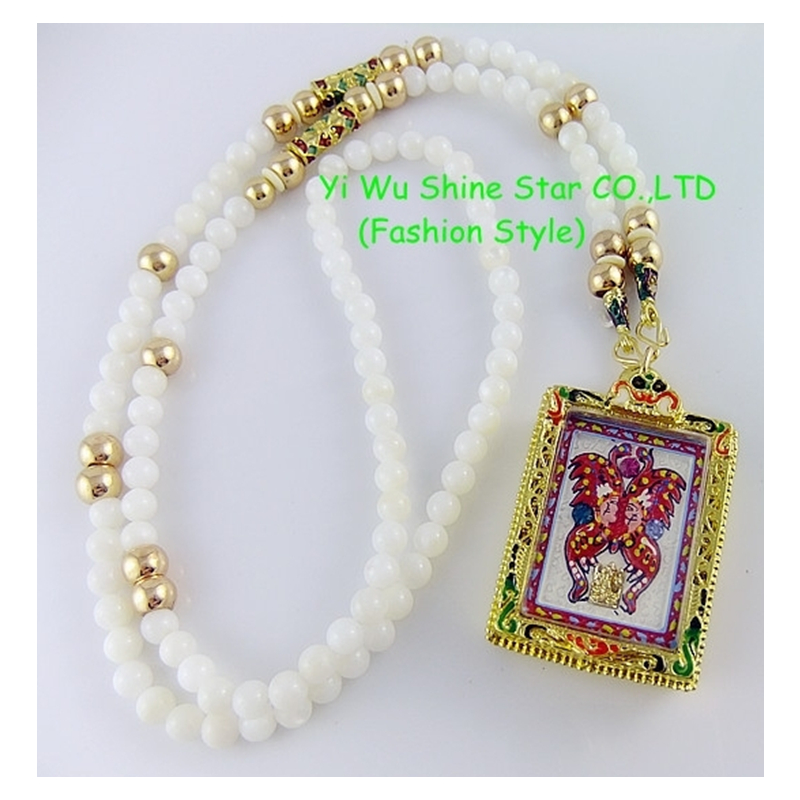 CirGen grand pendentif bouddha lourd Long coquillage perles peinture à la chaîne émail papillon éléphant déclaration collier femmes bijoux, A15