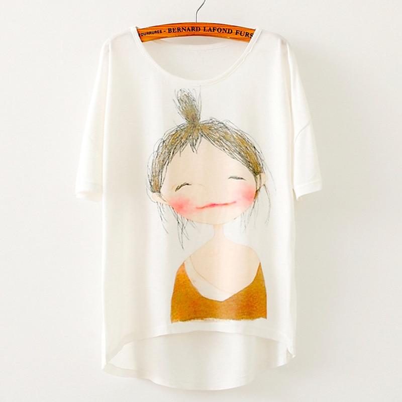 Nejprodávanější dámské oblečení 2019 Summer Casual Loose Plus Size Krátký rukáv Korean Cotton Girls Printed Women Tshirt Batwing Top