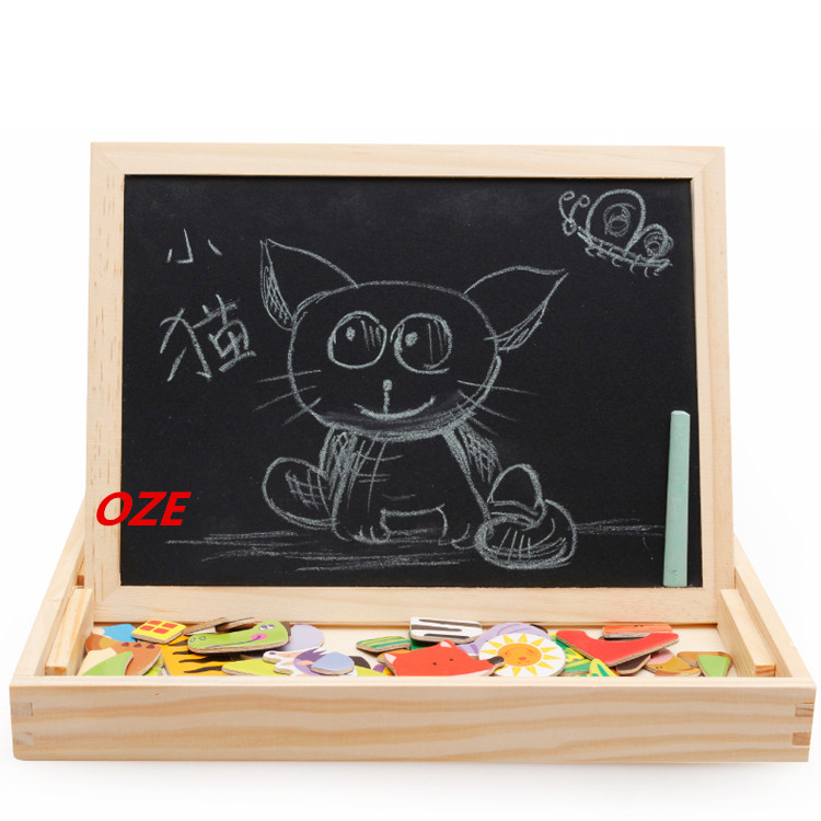 1PCS Wooden Puzzles For Children Forest Park Multifunctional Magnetic Kids Puzzle Drawing Board Educational 4 kinds wooden multifunctional magnetic easel board jigsaw puzzle drawing board educational toys for kids farm magnetic puzzle page 1