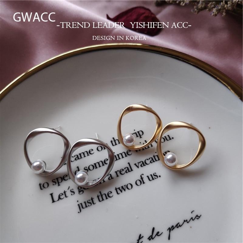 GWACC 2019 New Design Vintage Womens Earrings Gold Silver Color Chic Korean Irregular Freshwater Pearls Girls
