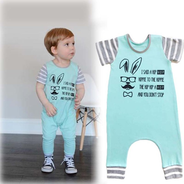 45c1b59d6e0f8 Kids Baby Boys Romper 2019 Summer Model Toddler Short Sleeved One-piece  Clothes Baby Boy Cool Rabbit Jumpsuit
