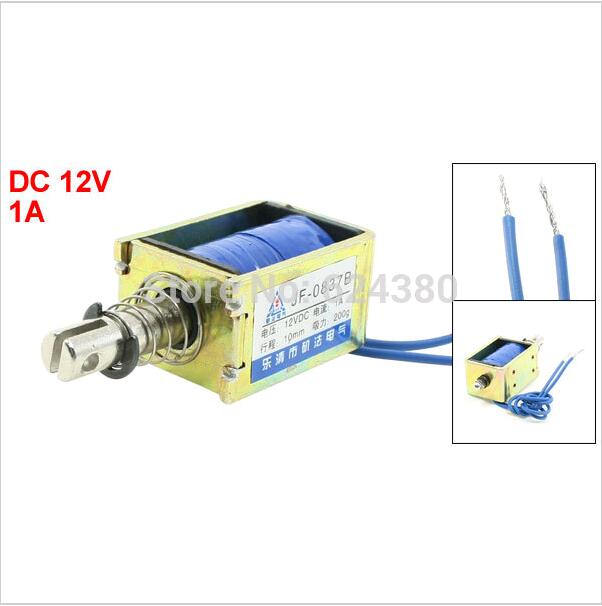 JF-0837B DC 12V 1A Pull Push Type Open Frame Solenoid Electromagnet 10mm Stroke 2N 0.2Kg 200g 0.4LB Force favourite 1026 5p