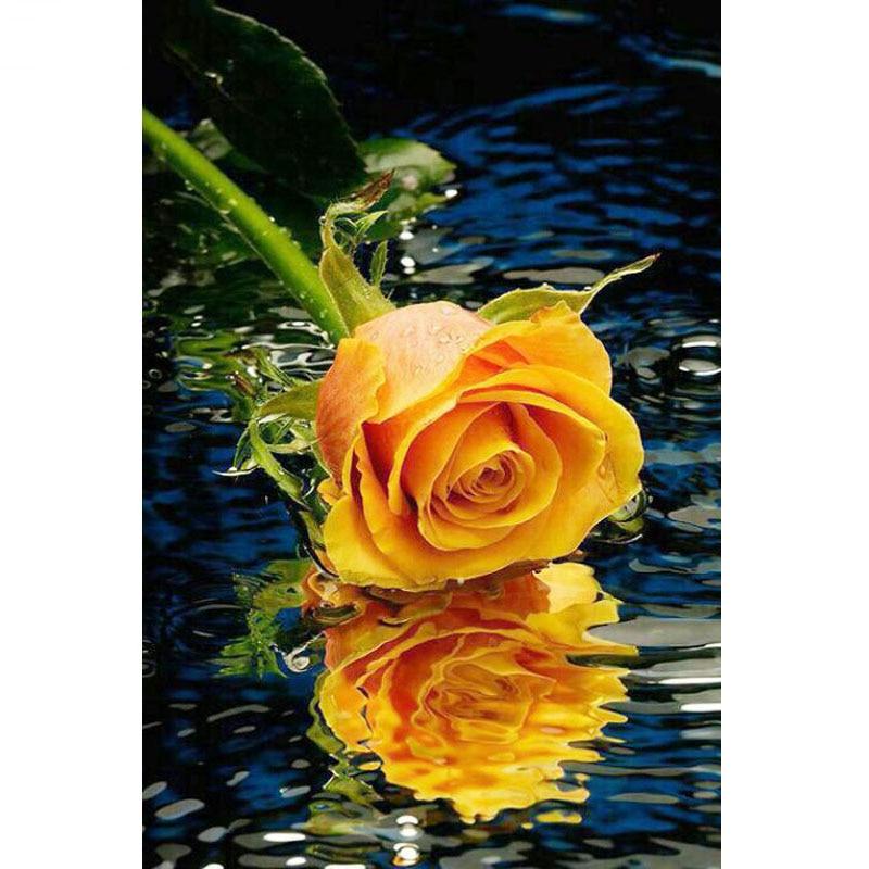 5D Diamond embroidery Yellow rose diamond cross stitch Rubik's cube diamond painting diy diamond painting flower