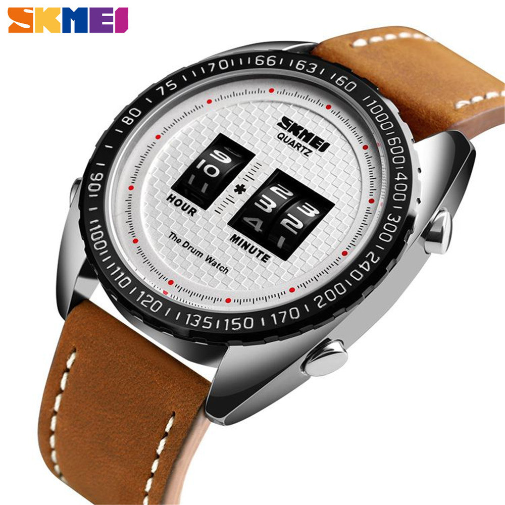 <font><b>SKMEI</b></font> Luxury Watch Men Fashion Business Quartz Men WatcQhes Leather Strap Sport Waterproof Quartz Wristwatches relogio masculino image