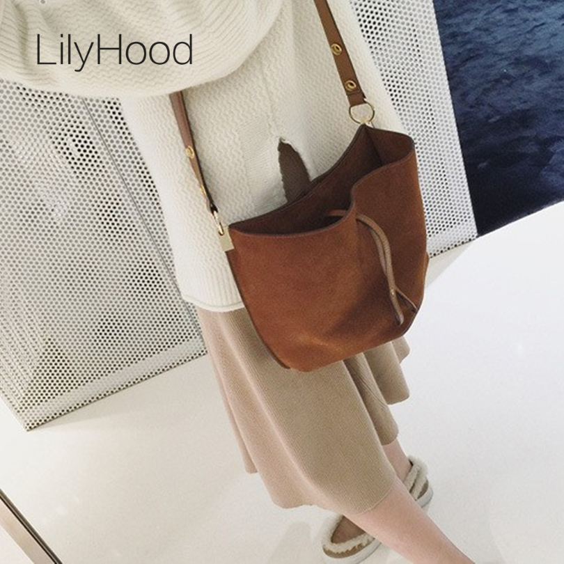 2017 Women Real Leather Messenger Bag Casual Vintage Simple Trendy Bucket Open B