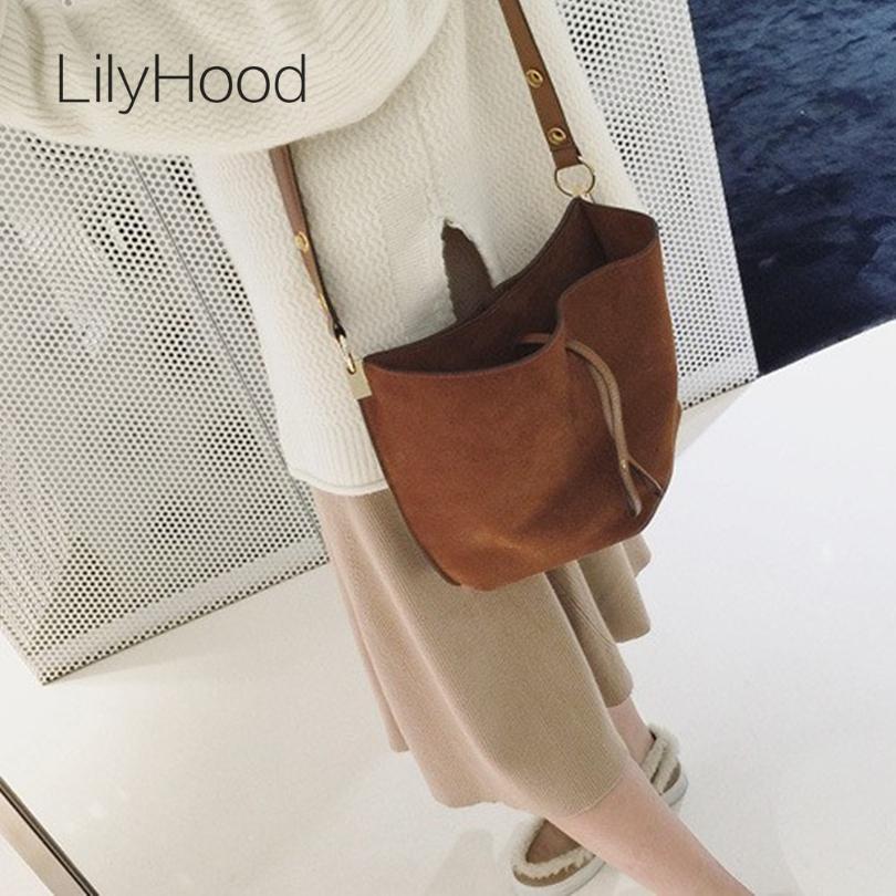 Prix pour LilyHood 2017 Femmes En Cuir Véritable Messager Sac Casual Vintage Simple À La Mode Seau Brun Nubuck Daim Féminin Sur L'épaule Sac
