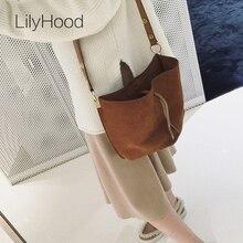 LilyHood 2017 Women Real Leather Messenger Bag Casual Vintage Simple Trendy Bucket Brown Nubuck Suede Feminine Over Shoulder Bag