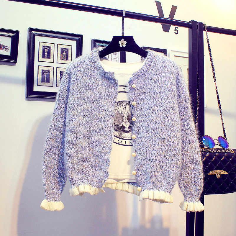 2019 herbst frauen Strickjacke Pullover Mantel Kurze Weibliche Schal Gestrickte Pullover Jacke Langarm Casual O-ansatz Feste Dünne Top 444
