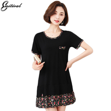 2017 Summer Women Dress Plus Size Patchwork Print Dresses Fake Two Piece Tshirt Casual Female 4XL o neck