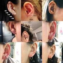 BOAKO 1Pair Small Hoop Earrings for Women Men Ear Rings Clip Huggie 925 Sterling Silver Bone Buckle Brinco