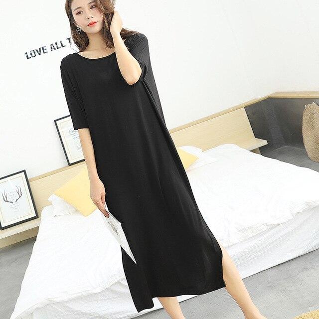 6e1dff53d53d Для женщин сексуальная ночная рубашка Лето 2019 г. Новый тетя с открытой  спиной модал хлопок короткими рукавами длинное плат