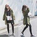 Cazadoras de algodón de alta calidad de la vendimia clásica básica moda bolsillos sueltos más el tamaño verde del ejército larga capa de foso para las mujeres