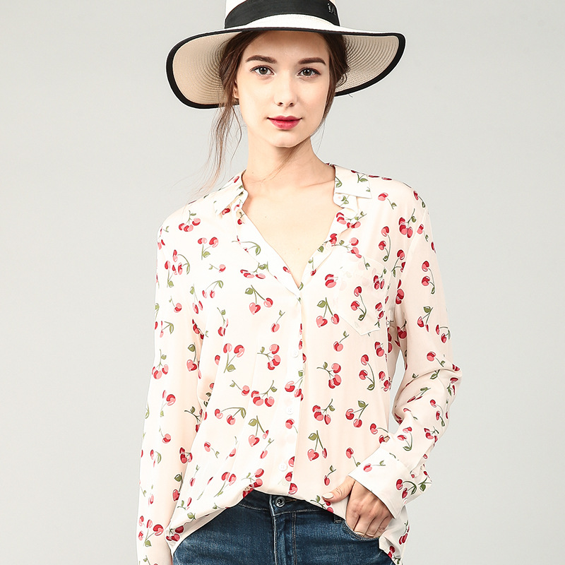 100 Silk Blouse Women Shirt Cherry Printed Turn down Collar Long Sleeves 2 Colors Translucent Fabric