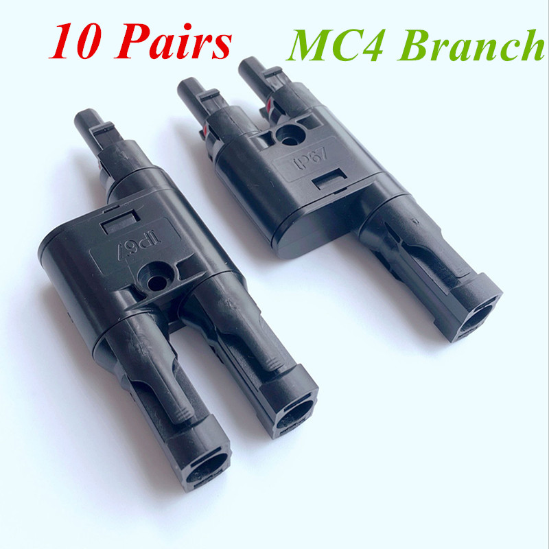 MC4 BRANCH 10 Pairs Solar Panel MC4 T Y Branch Connectors Cable Splitter Coupler 10 pairs solar panel y type 1 to 2 mc4 connector m ff and f mm branch cable mc4 32cm length for connecting solar panels ip67
