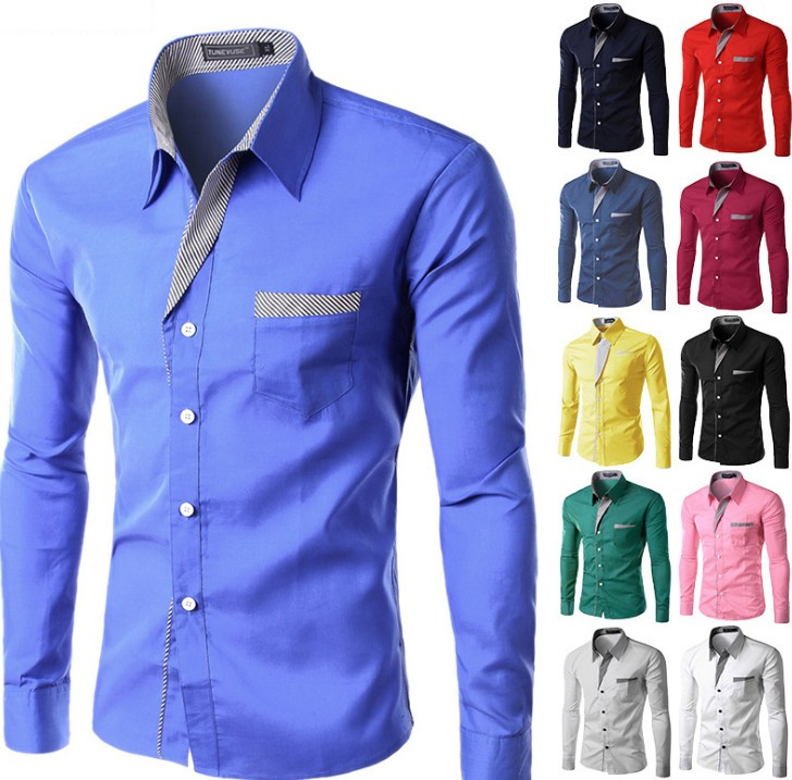 Fashion Men Plus Size Shirt Male Dress Shirts Men's Fashion Colorful Casual Long Sleeve Business Shirt