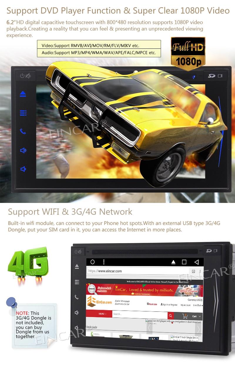 Eincar Android 7.1 Car Stereo 2Din HeadUnit In Dash Car Autoradio GPS Navagation Support OBD WIFI 3G/4G USB/SD Car Radio RDS FM