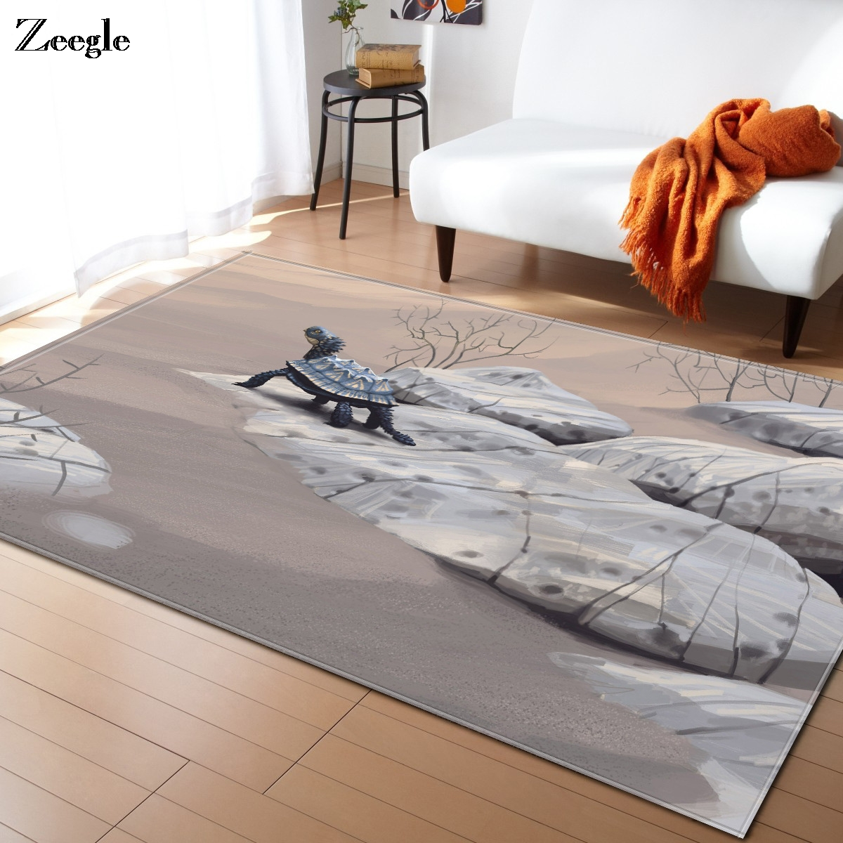 Zeegle Dinosaur Pattern Soft Carpet For Living Room Bedroom Kid Play Delicate Rug Home Floor Fashion Study Room Mat