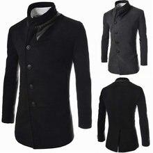 Vogue модный бренд Для мужчин Куртки Зимнее пальто  верхняя одежда  Повседневное Черный, серый цвет пальто Стенд воротник Slim Fi. 5ecd0808dfc
