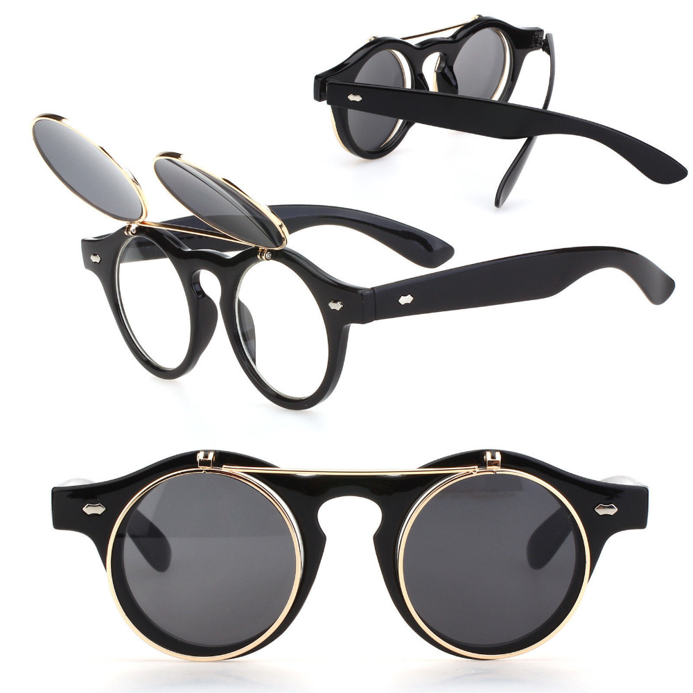 Newest Arrivals Steampunk Goth Goggles Glasses Men Women Retro Flip Up Round Sunglasses Vintage Black