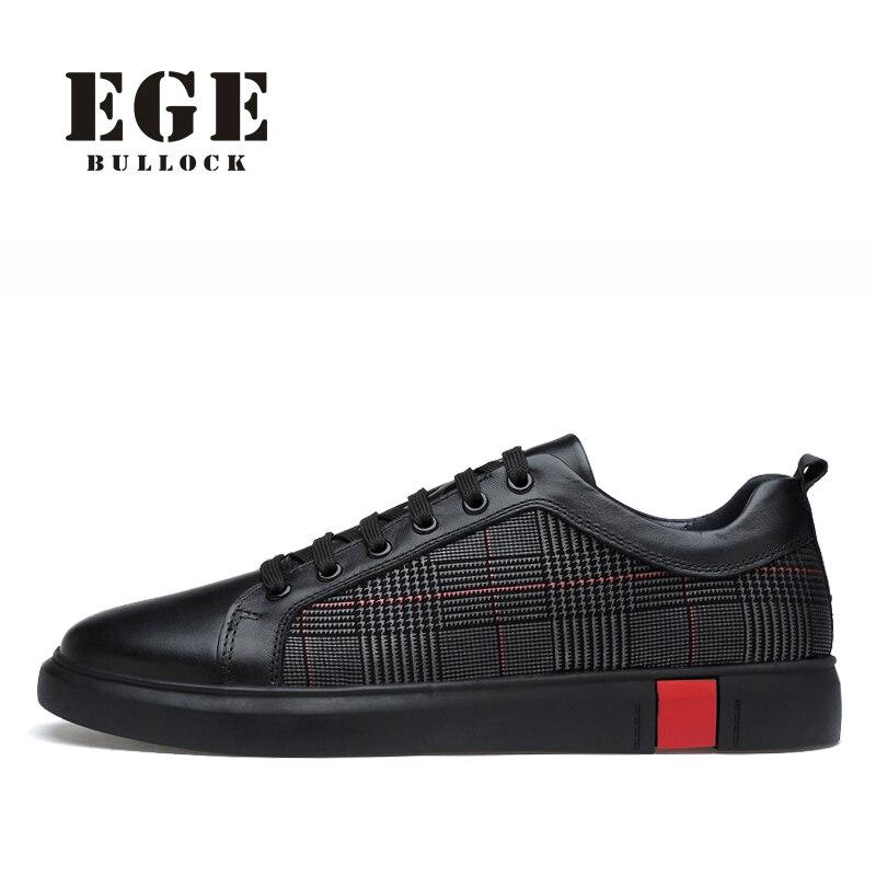 Nuevos hombres zapatos Casual EGE marca de alta calidad de cuero genuino zapatos Lace-up suave transpirable pisos ocio zapatos para los hombres