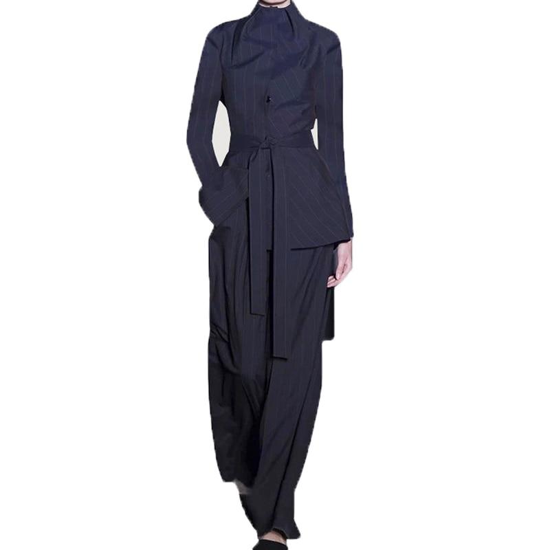2019 Et En Rayés Ensembles Mode Large Piste Nouvelle Pantalon Bas Supérieure Col À De Manches Femmes Montant Designer Longues Tops Ensemble Qualité ptTanqxn