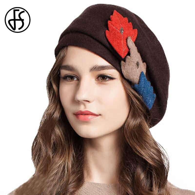 FS Outono Inverno Lã Boina Chapéus Estilo Britânico Artista Dobrável Chapéu  Cap Pintor Fêmea Com Três Folhas de Femme em Boinas de Acessórios de  vestuário ... 9884a5af12e