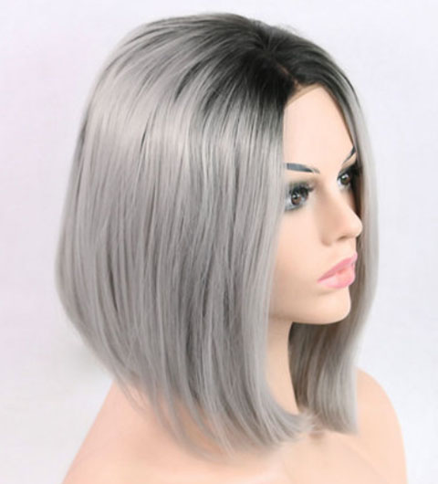 Short Hair Bob Wig Synthetic Lace Front Ombre Gray Lace Front Wig Bob Cheap Wigs-77