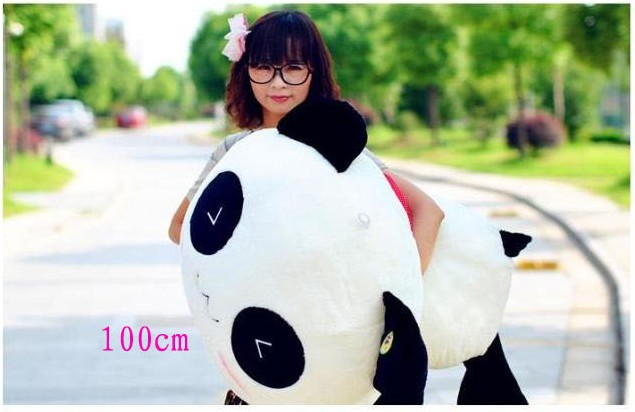 super lovely panda toys lying stuffed panda big toy plush pillow soft doll good huge birthday gift about 100cm stuffed plush toy huge 95cm prone panda doll soft throw pillow birthday gift b0487