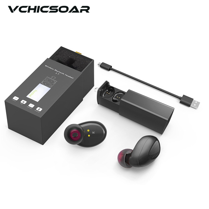Vchicsoar TWS i7 New Bluetooth Earphone Really wireless Mini Earbuds Headset with Charger Box PK X2T K1 K2 for iPhone & Android new dacom carkit mini bluetooth headset wireless earphone mic with usb car charger for iphone airpods android huawei smartphone