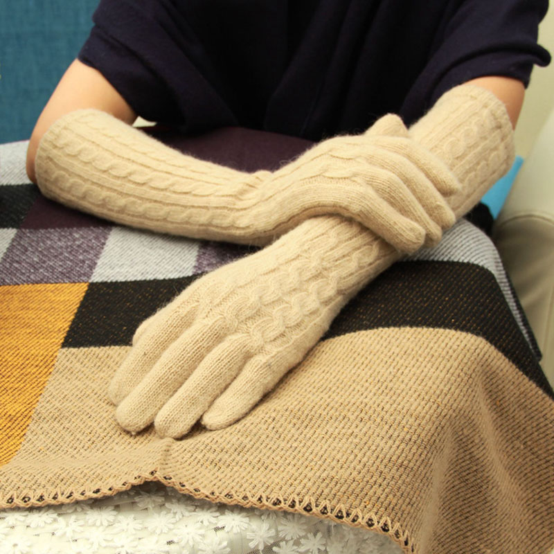 40cm Long Wool Gloves Cashmere Mittens