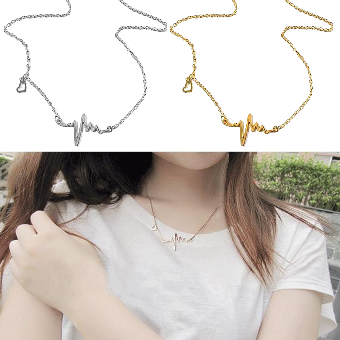 Women Fashion Jewelry Clavicle Chain Cute heartbeat ECG pendant necklace New Simple Popular Electrocardiogram Necklace