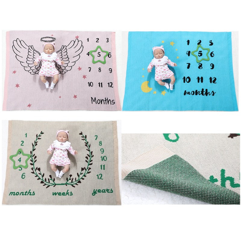 Cute Multi-function Baby Play Mats Infant Milestone Photo Props Background Receiving Blanket Backdrop Calendar Photo Accessory