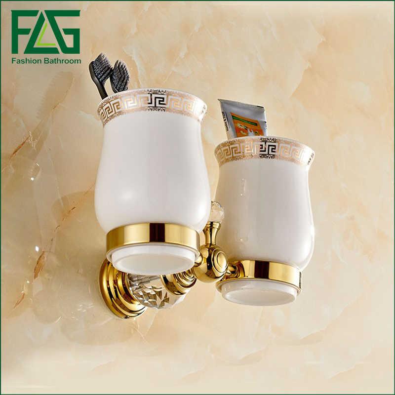 FLG аксессуары для ванной комнаты золотые зубные щетки держатель чашки золотые хрустальные Двойные подстаканники