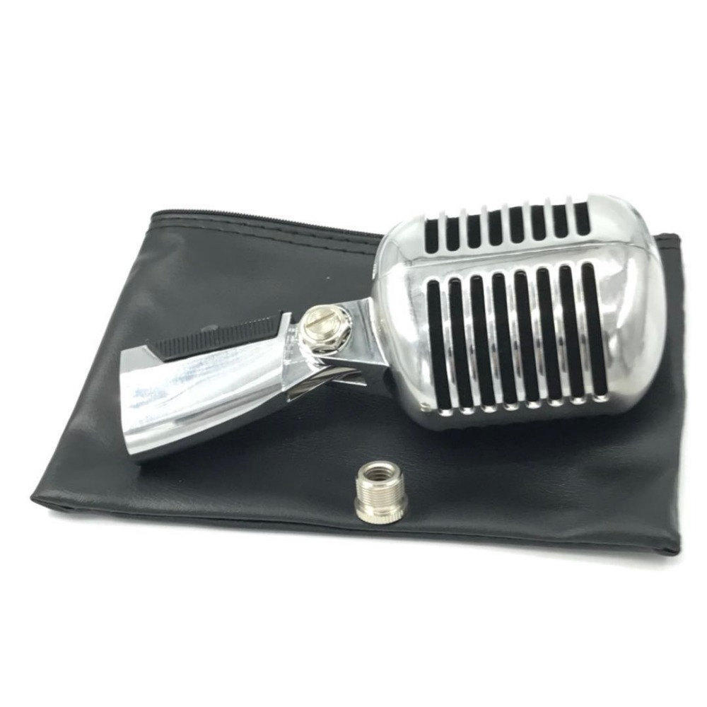 KSOAQP 55 SH Dynamic Vocal Retro Wired Microphone Stand Desktop Mic Holder Tripod For KTV Vintage