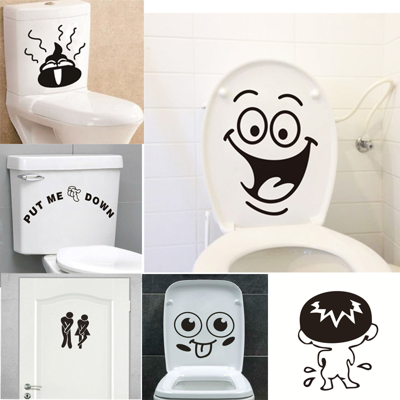 Funny Smile Bathroom Wall Stickers Toilet Home Decoration Waterproof Wall Decals For Toilet Sticker Decorative Poster Home Decor(China)