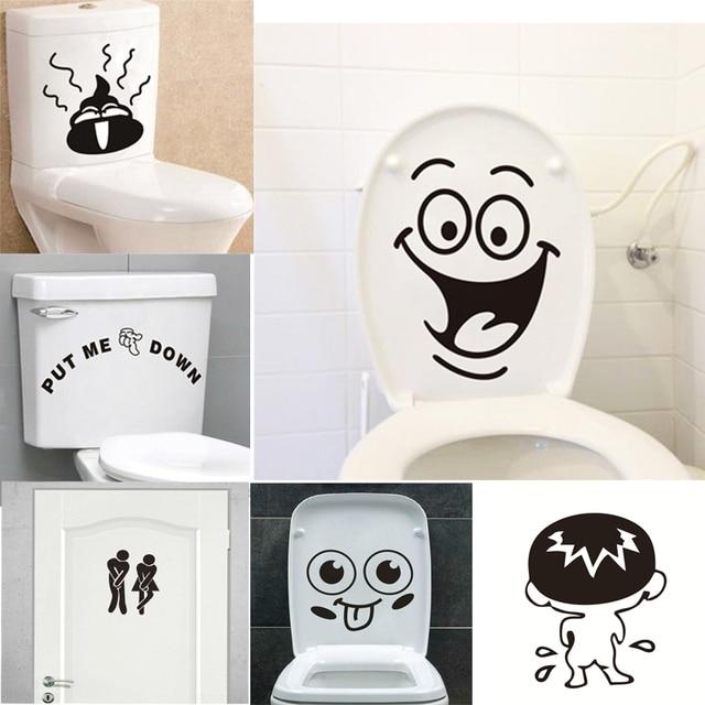 Забавный улыбка Ванная комната наклейки на стену для ванной для домашнего декора водонепроницаемый настенные наклейки Наклейка на унитаз декоративный постер Home Decor