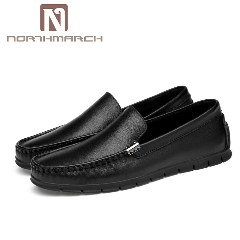 NORTHMARCH Brand Summer Spring Breathable Genuine Leather Flats Loafers Men Shoes Casual Shoes Fashion Slip On Driving Shoes Men spring summer men casual shoes fashion leather lace up driving shoes breathable moccasins men shoes flats