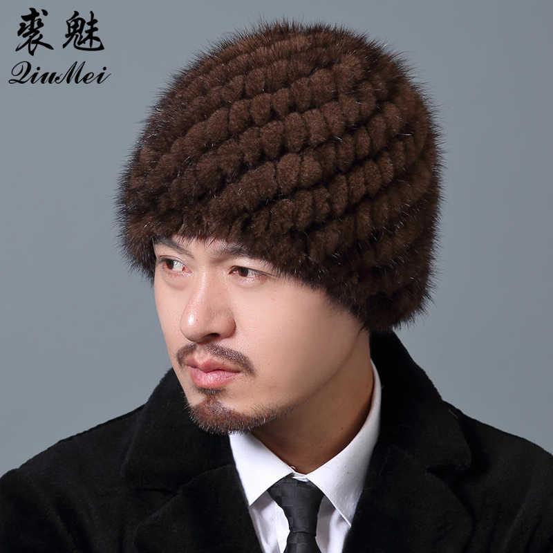 ... Мужские зимние шапочки норковые меховые шапки полосатые вязаные шапки  Мужские русские мужские меховые шапки теплая подкладка ... e9945c284c223