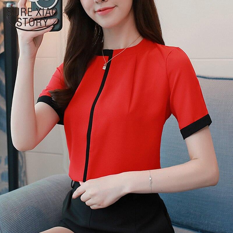 chiffon short sleeve women   blouse     shirt   elegant office ladies women tops casual slim solid red 2018 new women clothing 0215 40