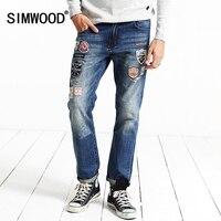 SIMWOOD Brand Clothing 2018 New spring Winter Patchwork Print Biker Skinny Robin Jeans Men Denim Pants SJ6056