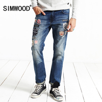 SIMWOOD Brand Clothing 2016 New Autumn Winter Patchwork Print Biker Skinny Robin Jeans Men Denim Pants