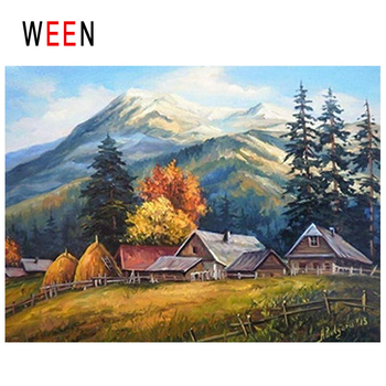 WEEN Mountain Forest Diy Painting By Numbers Abstract Farm House Oil Painting On Canvas Fall Cuadros Decoracion Acrylic Wall Art