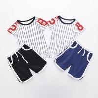 2 PCS Garçons D'été Adolescente Vêtements Filles Vêtements Ensembles Enfants Sport Baseball T-shirt Garçons Pantalon Costume Maison Rayé Coton Streetwear